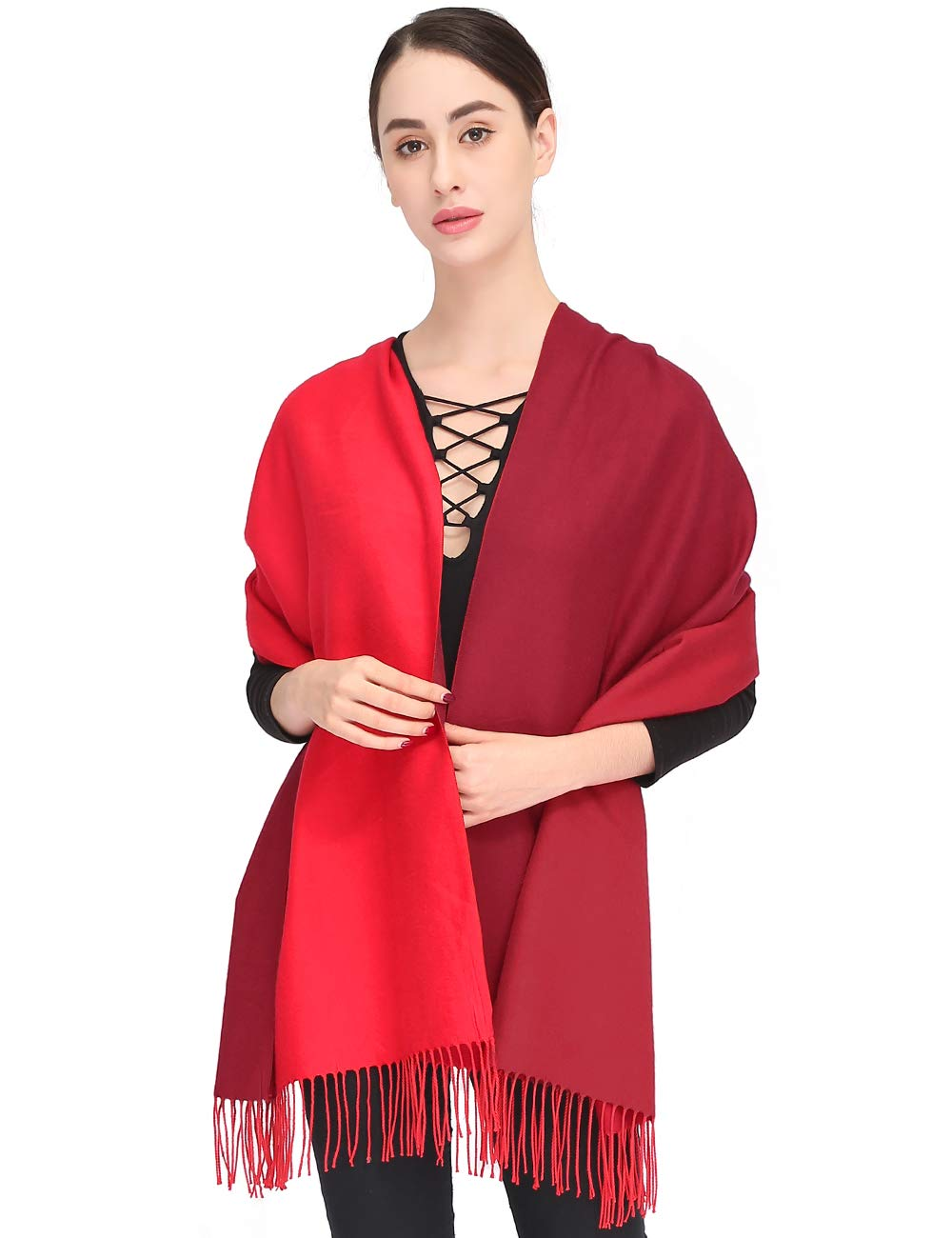 Pashmina Shawls and Wraps Elegant Cashmere Scarfs for Women Stylish Warm Blanket Solid Winter Scarves with Gift Box 78.5''x27.5'' (Red, Box)