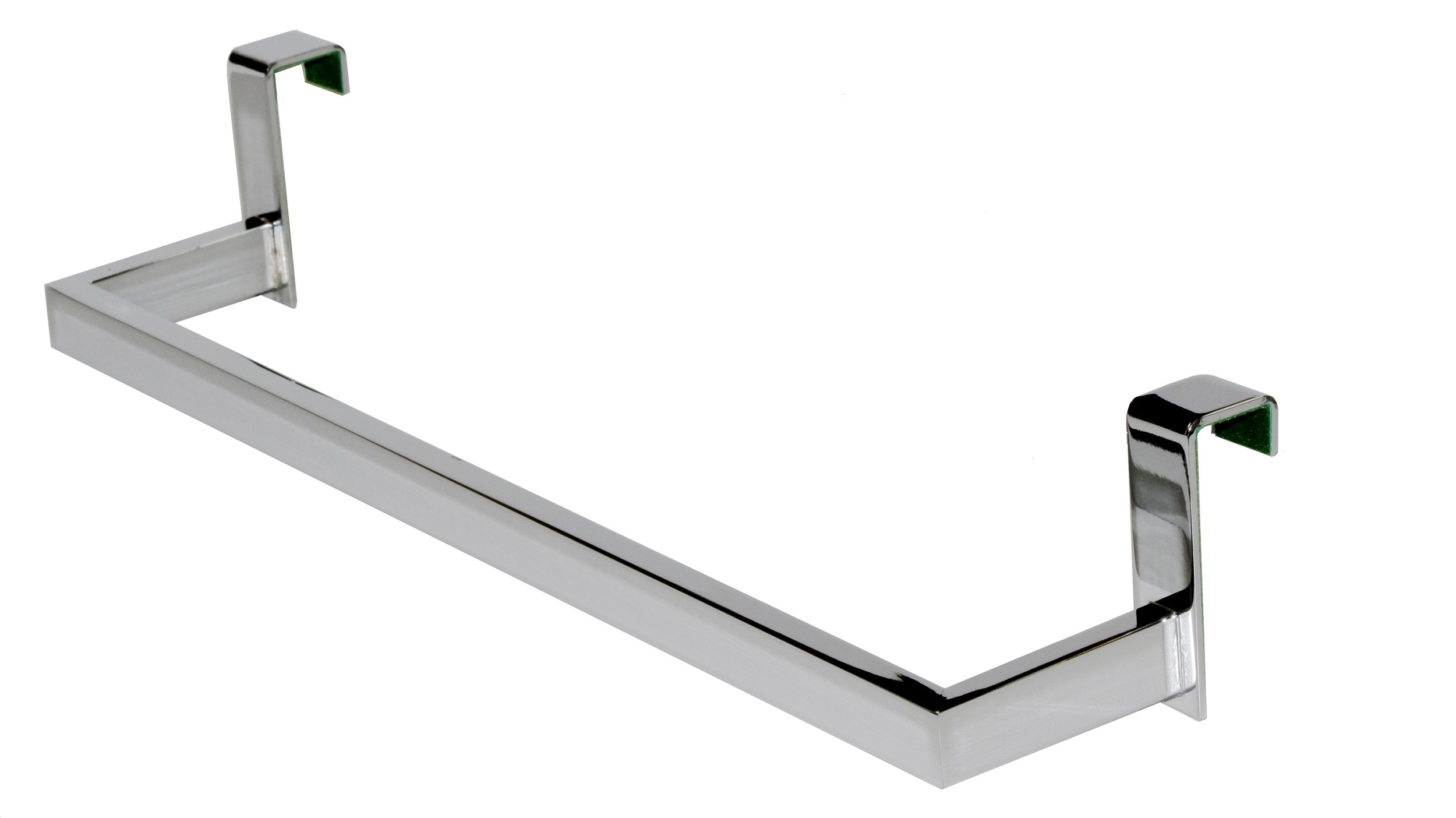 Over the Cabinet Towel Bar 14-1/2-inch, Brass Polished Chrome, Over the Door Towel Bar Holder-rectangular Lines, Made in Spain (Euroepan Brand)