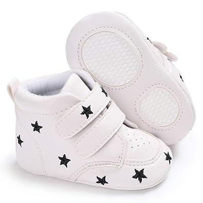 11674adbe61c4 jEZmiSy Baskets bébé garçon Fille Baskets antidérapantes Chaussures de  Berceau Prewalker Sports à Semelle Souple antidérapantes