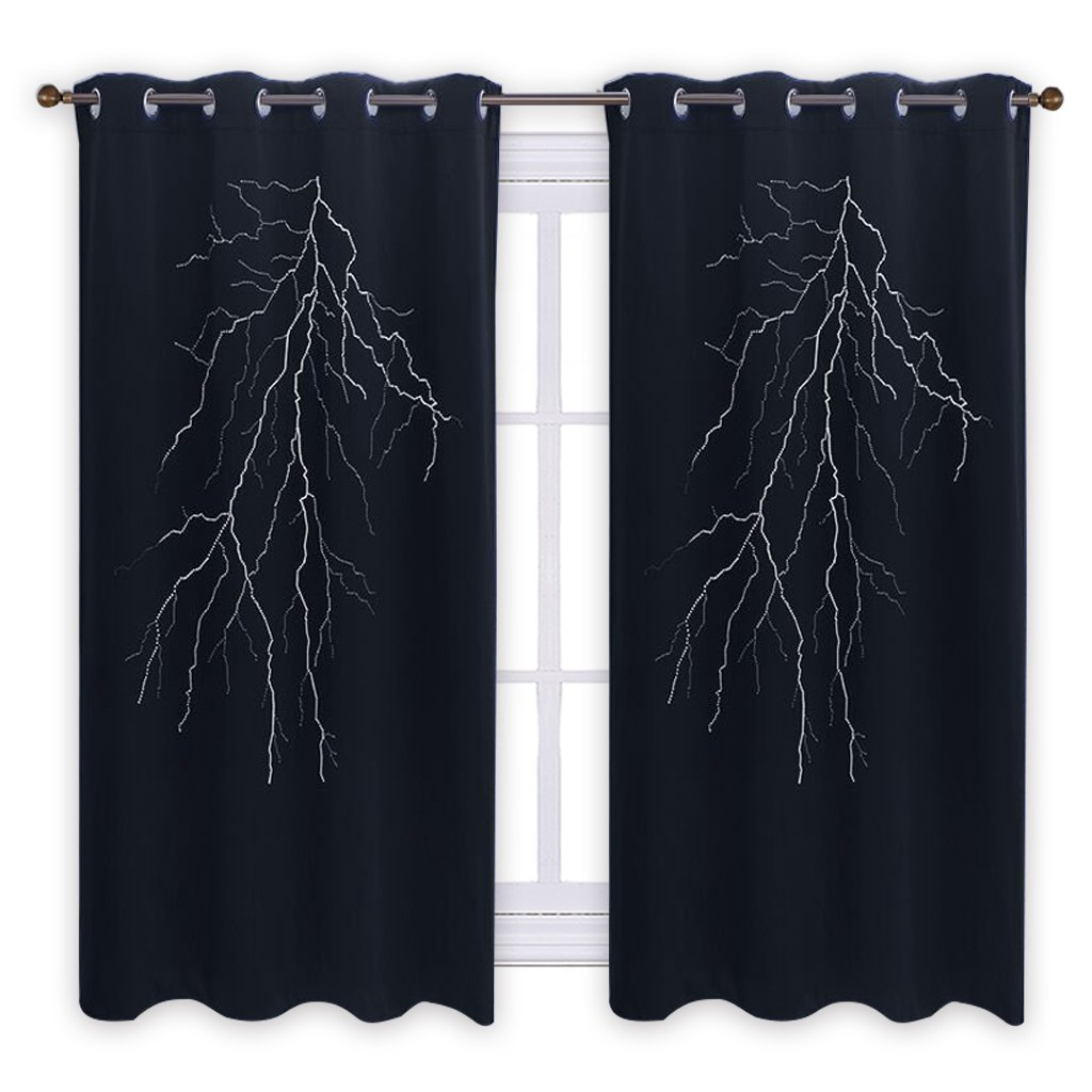 PONY DANCE Lightning Curtain for Baby - Bedroom Blackout Home Decor Design Die Cutting Hollow Out Grommet Drape/Drapery for Living Room Nursery, 52'' Wide by 63'' Long, Black, 1 Panel
