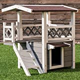 Best Outdoor Cat Houses - PETSJOY Pet Cat House, Wooden Cat Room Shelter Review