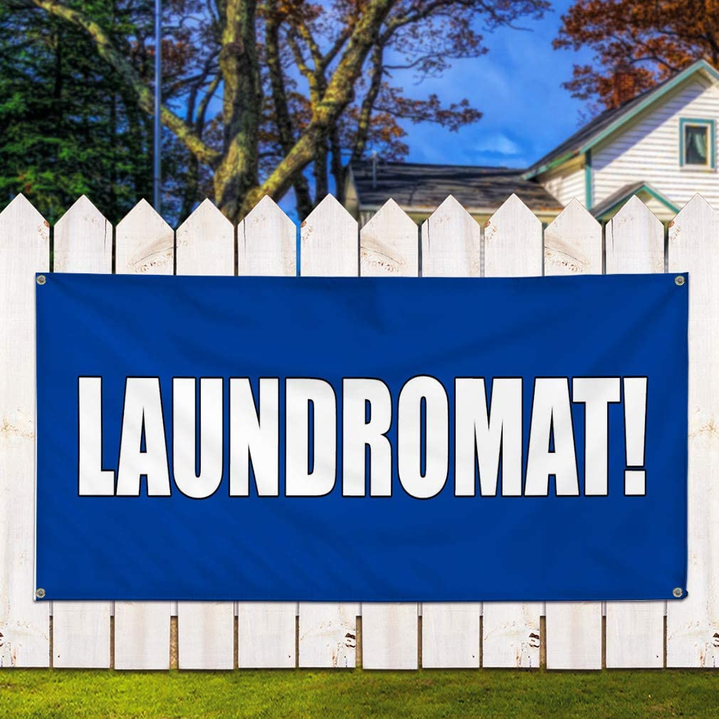4 Grommets Set of 3 Vinyl Banner Sign Laundromat Blue Business Laundromat Marketing Advertising Blue 24inx60in Multiple Sizes Available