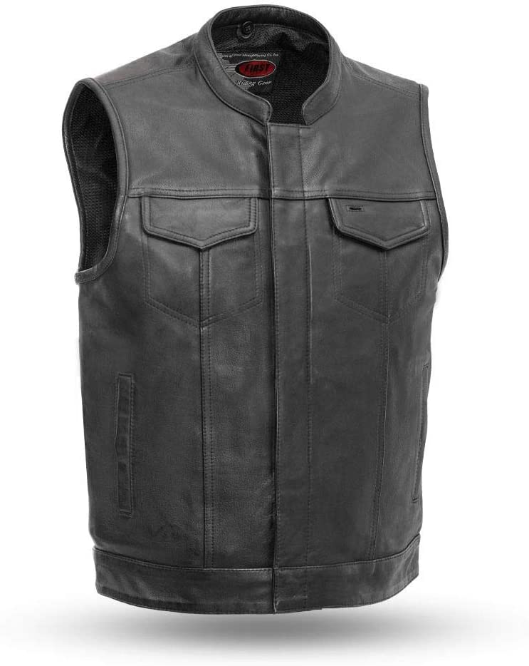 Mens Motorbike Motorcycle Club Leather Vest Waistcoat Black, Small First MFG Co - Sharp Shooter