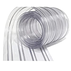 Resilia - Plastic Vinyl Strip Curtain for Walk in Freezers, Coolers & Warehouse Doors - Clear, 80 mil Thick, 8 Inch x 75 Foot roll