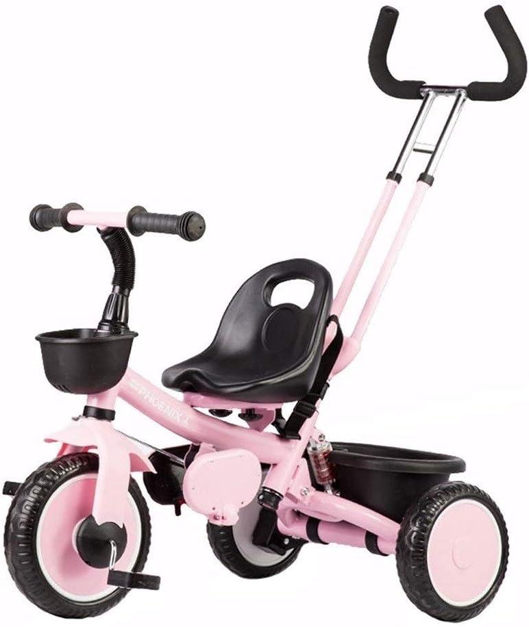 xy Triciclos Triciclo 2 En 1 Triciclo Triciclos Niño En Bicicleta Niño con Acero Marco Retro del Estribo De Empuje Grow-Head con Altura Ajustable De Empuje Paseo En Triciclo 3 Colores (Color : Pink)