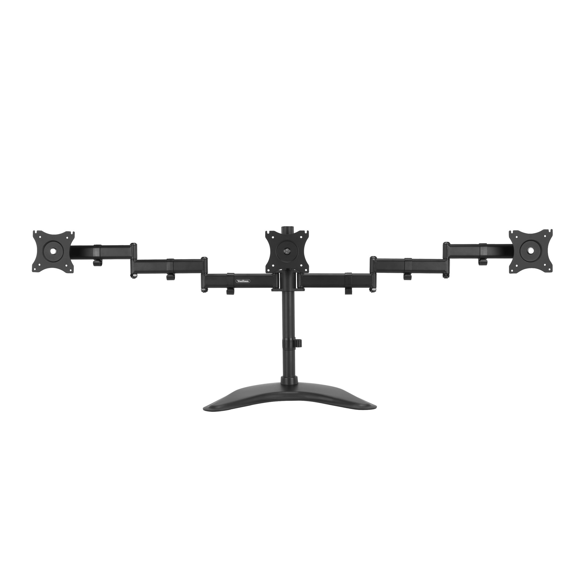 "VonHaus Triple Monitor Stand for 13-27"" Screens - Three Arm Desk Mount Bracket - Ergonomic 90° Tilt, 360° Rotation & 360° Swivel Arms - VESA Dimensions: 75x75-100x100"
