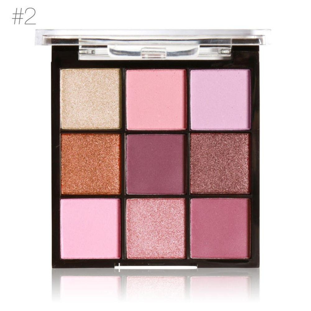 Poluck Women's 9 In 1 Eyeshadow Palette Four Styles Shimmer Matte Natural Nudes Brown Pink Waterproof Long Lasting Eye Shadow Cosmetic (B) by Poluck