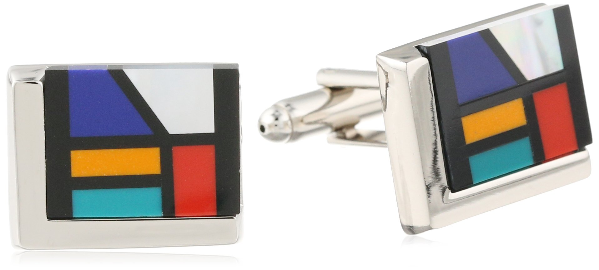 Stacy Adams Men's Cuff Link With Mosiac Like Stones, Silver, One Size