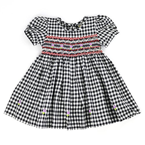 sissymini - Infant and Toddlers Hand Smocked Dress   Chasey Cole's Plaid in Black and White 12M ()