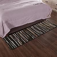 ANJUREN Rags Area Rugs Reversible Durable Cotton Stripe Hand Woven Washable Runner Rug Carpet Mat Pad For Kitchen Bathroom Door Laundry Room Bedroom Apartment Sofa Bay Window Pet rug (36x60, Coffee)