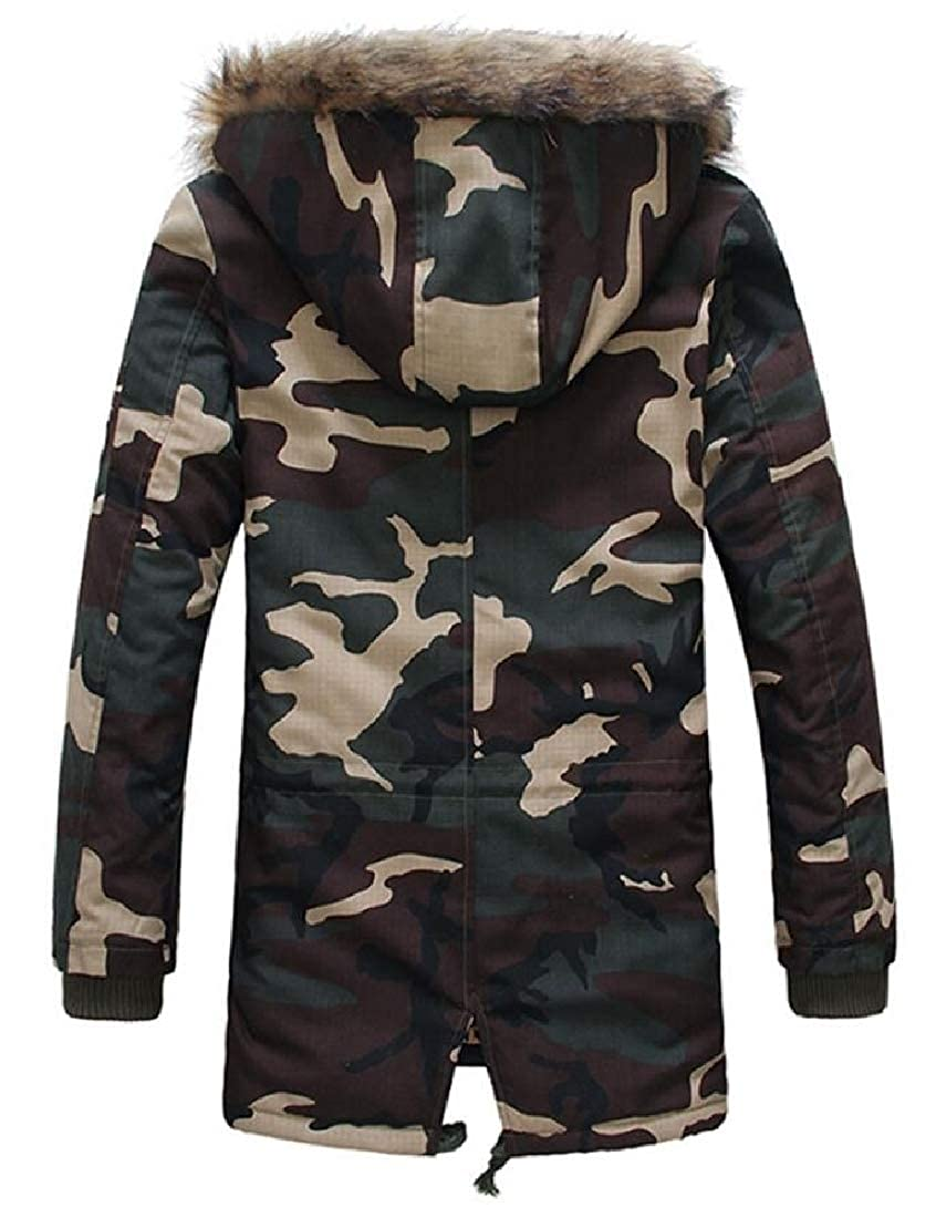 XQS Mens Outdoor Camo Print Fur Collar Thicken Hooded Down Jacket Thicken Wadded Coat
