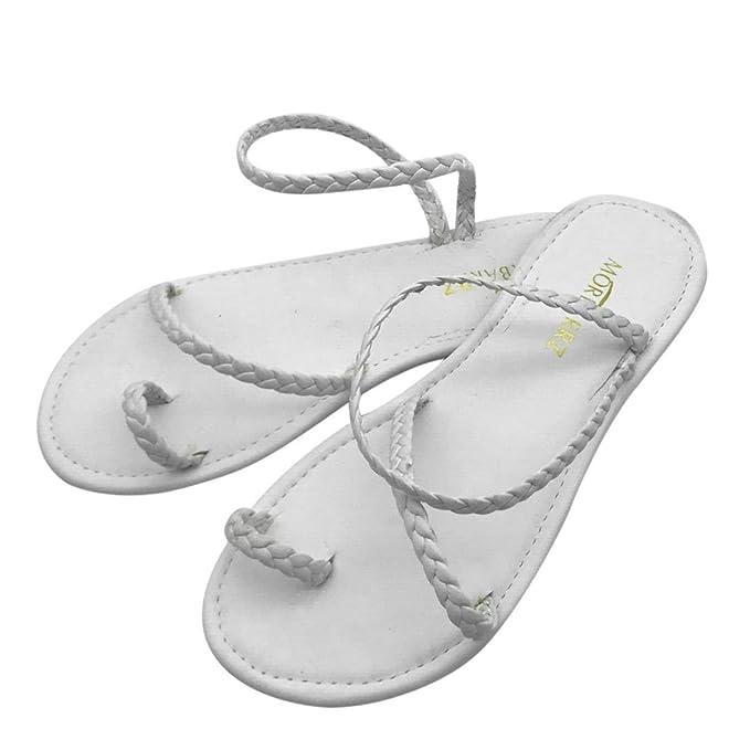 dc25c6aa3397d Amazon.com  Outsta Women Summer Strappy Gladiator Low Flat Heel Flip Flops  Beach Sandals Shoes (White