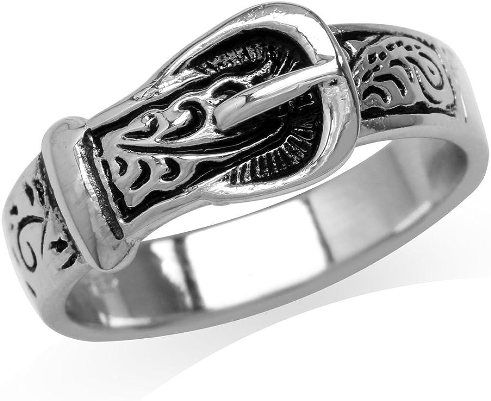 Silvershake 925 Sterling Silver Belt Buckle Ring