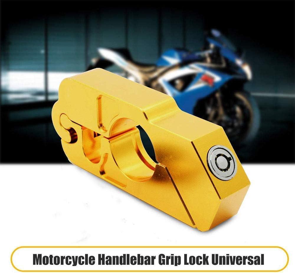 Gold Riloer Motorradlenkerschloss Hochleistungs-Aluminiumschloss Diebstahlsicherung Motorradschloss Griffschloss f/ür Motorrad-Roller Motorrad ATV