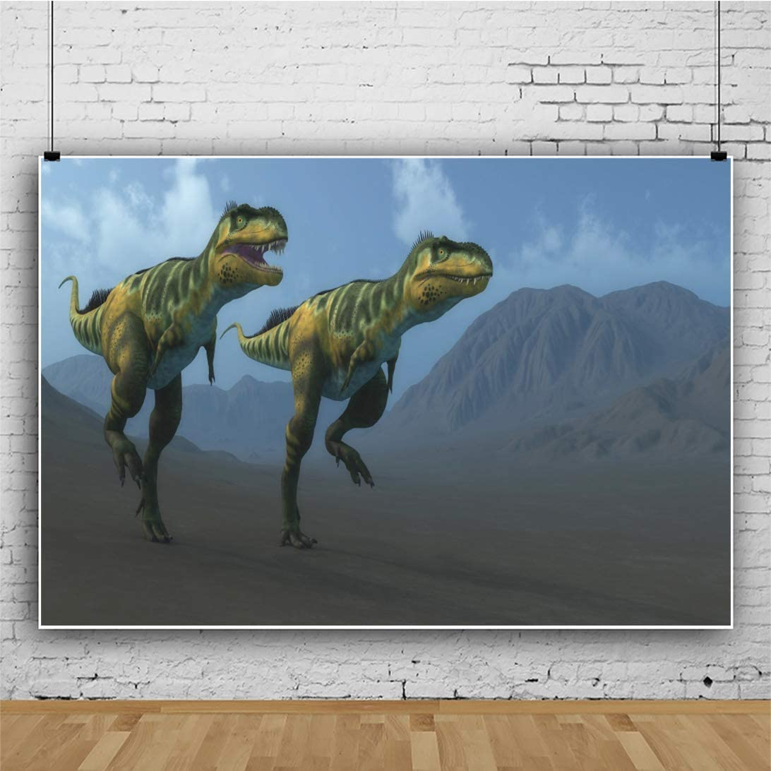 Yeele Running Dinosaurs Backdrop 3D Dino Movie Scene Vivid Dino in Jungle Photography Background 10x8ft Kids Dino Party Artistic Portrait Photoshoot Studio Props