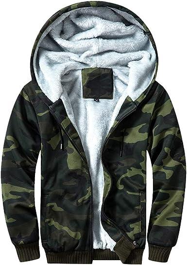 Homme Camouflage à Capuche Manteau Rembourré Fermeture Éclair Kaki Camouflage à Capuche Veste D/'hiver M 2XL