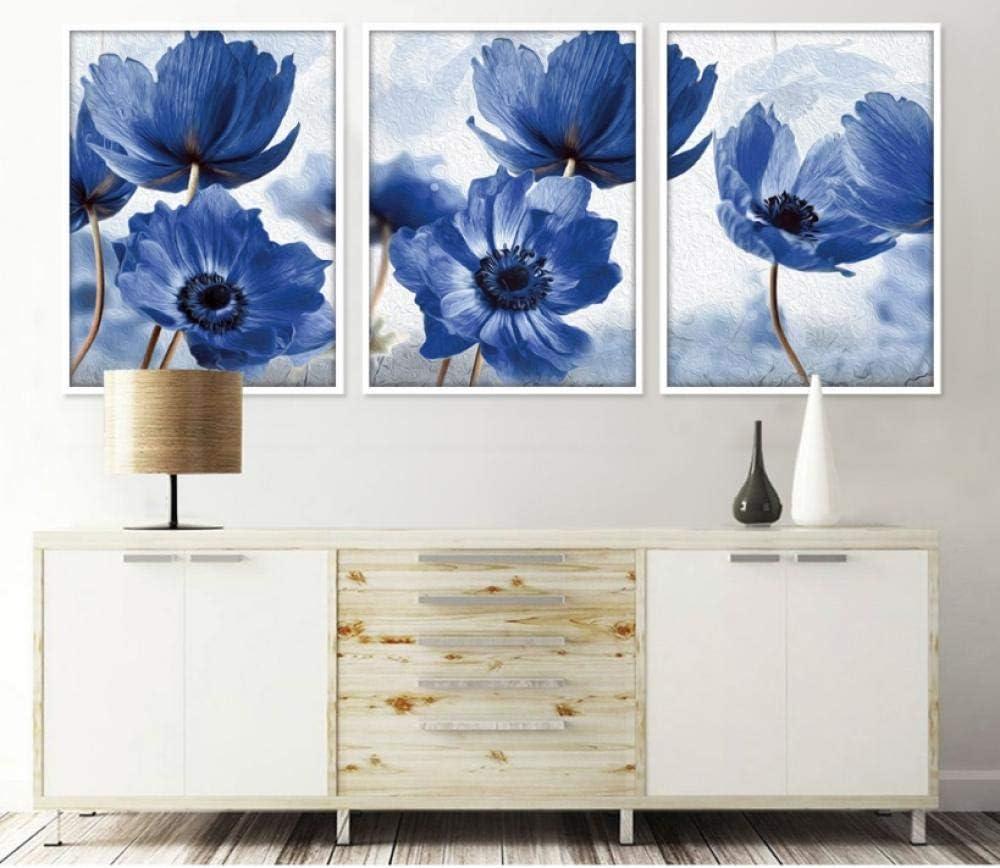 Cqzk - Cuadros Decorativos de Flores Azules pintadas en Lienzo para Sala de Estar, 40 x 60 x 3 cm, sin Marco