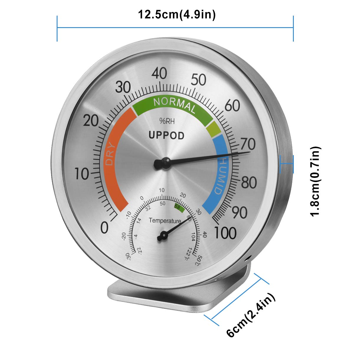 """5\"""" Hygrometer Thermometer Indoor Outdoor [UPDATED English Version], Humidity Gauge Indicator Temperature Humidity Monitor, Analog Hygrometer Humidor for Patio, Wall Decorative, Room, Home, Office 61XMD7958ML"""