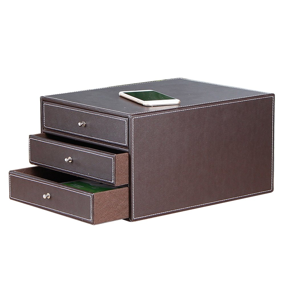Smonet Multi-Functional 3 Drawers PU Leather Desk