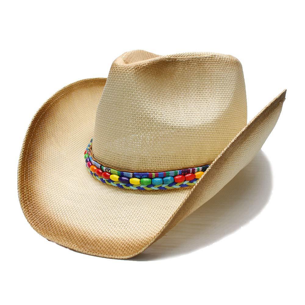 ZHJTMC Sombrero Hombre Cowgirl Jazz Mujeres Paja Sombrero de Vaquero  Occidental con Cadena de Cuentas coloreadas Tejido a Mano Lady Dad (Color    Natural 3014870c6d2