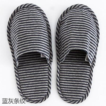 CWJDTXD Zapatillas de verano Pantuflas portables portátiles, zapatillas de viaje, hotel, pantuflas plegables ligeras, mute de algodón, (una talla 36-42), rayas azules y grises: Amazon.es: Hogar