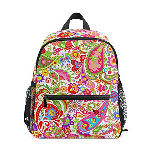 ZZKKO Floral Paisley Kids Backpack School Book Bag for Toddler - Bottle Paisley Bag Park