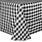 Ultimate Textile (2 Pack) 120 x 120-Inch Square Polyester Gingham Checkered Tablecloth - for Picnic, Outdoor or Indoor Party use, Black and White