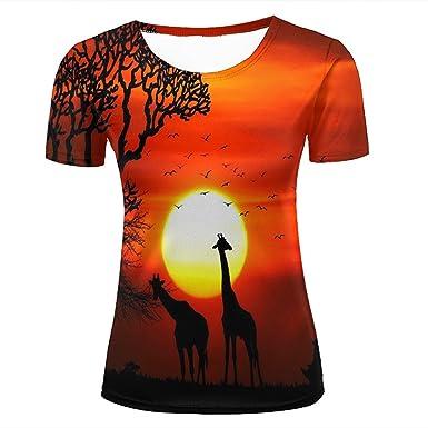 624b91b7e Amazon.com: iwuxishi Men 3D T Shirts Giraffe Tree Bat Red Graphic Short  Sleeve Tops: Clothing