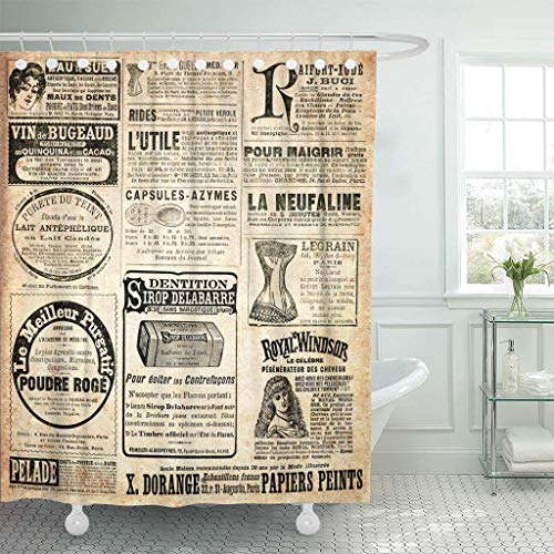 Emvency Fabric Shower Curtain with Hooks Newspaper for sale  Delivered anywhere in USA
