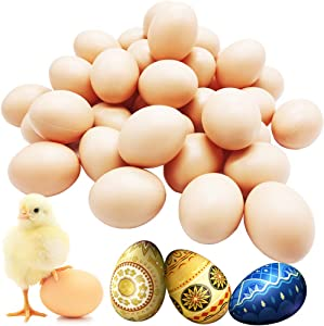 Fvcisshhu 30 Pack Plastic Eggs Fake Chicken Eggs,Toy Food Playset for Crafts Easter Hunts Basket Fillers Easter Gift and Party Favor