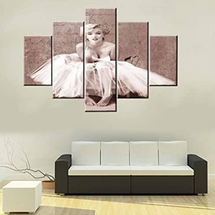 TUMOVO House Decorations Living Room Monroe Marilyn Artwork Vintage Person  Portrait Paintings 5 Piece HD Prints Wall Art on Canvas Modern Room Decor  ...