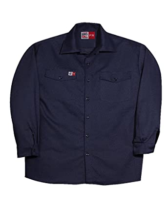 1c0a34351f20 Big and Tall Navy USA Made Flame Resistant Fire Retardant Work Shirts (6X  Big)