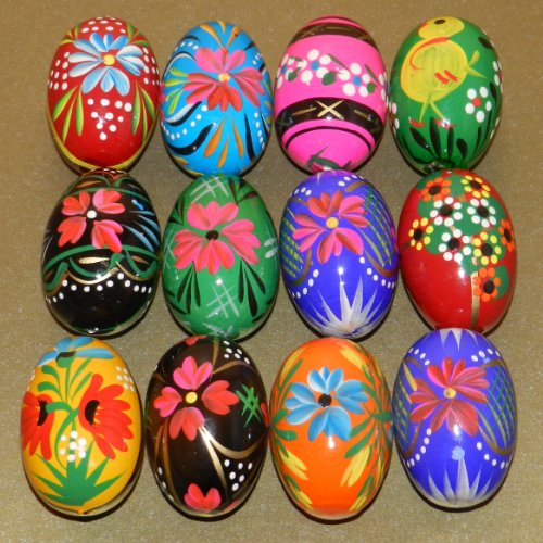 Painted Easter Basket Hand - 12 Polish Wooden Eggs - Pysanky Wooden Easter Hand Painted Egg