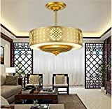 SSBY Chinese stealth fan chandelier fan light retro luxury Restaurant, living room local gold ceiling fan l