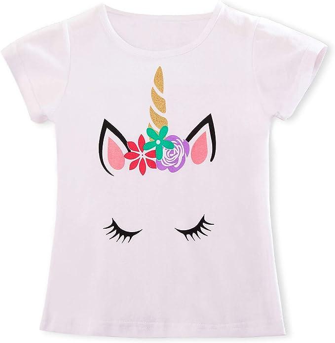 TTYAOVO Camiseta de Algodón Unicornio para Niñas, Camiseta de Manga Corta de Verano para Niños Camiseta de Impresión de Fiesta de Cumpleaños Unicorn