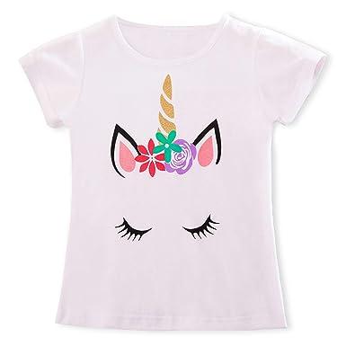 9ff65f545 TTYAOVO Camiseta de Algodón Unicornio para Niñas, Camiseta de Manga ...