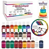 24 Food Color Primary & Secondary US Cake Supply by Chefmaster Liqua-Gel Paste Cake Food Coloring Set - The 24 Most Popular Colors in 0.75 fl. oz. (20ml) Bottles