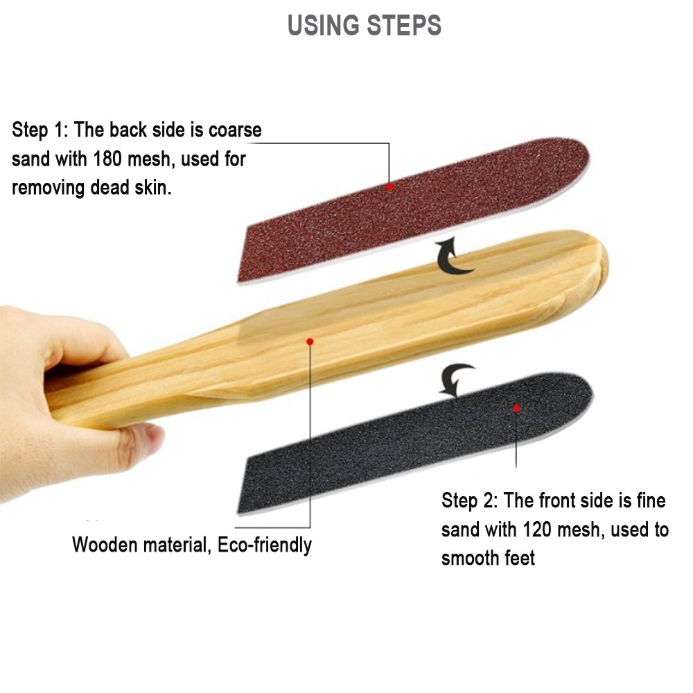 Zinnor Wooden Handle Double Sided Foot Pedicure File Callus Dead Skin Remover Scrubber Tool Pedicure Foot File