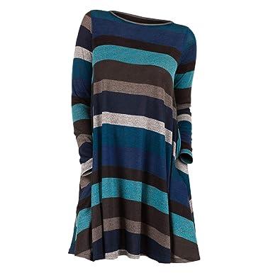 Rosegal Pull Chandail Femme Mode Chemisier Manche Longue rayé Col Rond Sweat -Shirt Chaude Tunique Long Tops Automne  Amazon.fr  Vêtements et accessoires 237ce5f0ff4