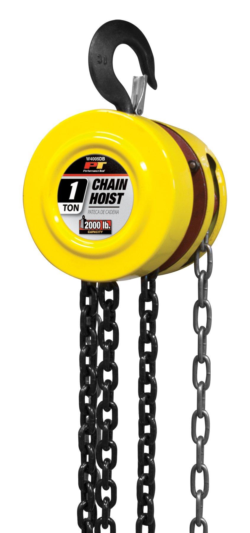 Performance Tool W4005DB Manual Hoist with 2 Hooks, 1 Ton (2,000 lb) Capacity 8' Chain Hoist