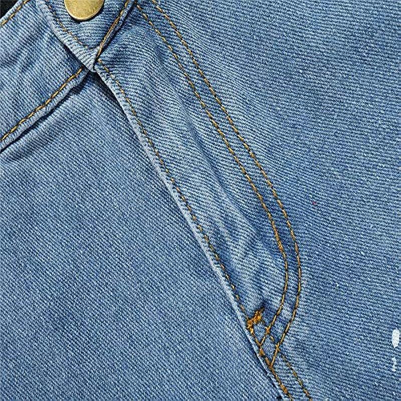 DeHolifer klasyczne męskie dżinsy Slim Fit, moda męska z nadrukiem Czas wolny Beam Fuß Spodnie Jakościowe Proste Spodnie na czas wolny: Odzież