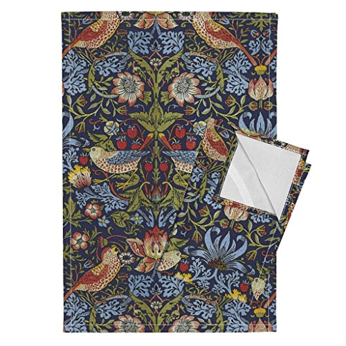 Roostery Victorian Arts and Crafts William Morris Strawberry Thief Floral English Damask Tea Towels William Morris ~ Strawberry by Peacoquettedesigns Set of 2 Linen Cotton Tea Towels