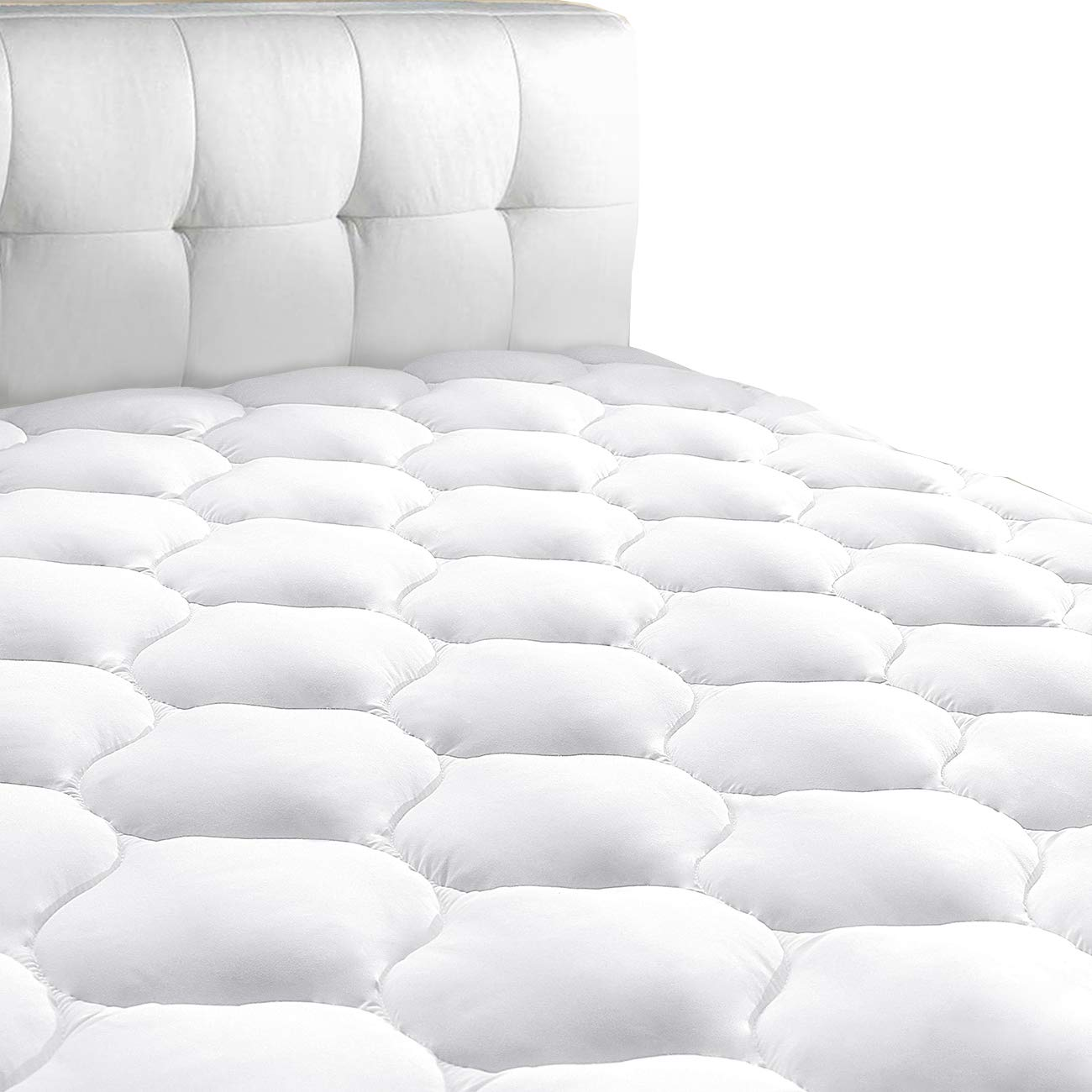 "King Mattress Pad Cover 8-21""Deep Pocket - Cooling Mattress Topper Overfilled 300TC Snow Down Alternative by Masvis"