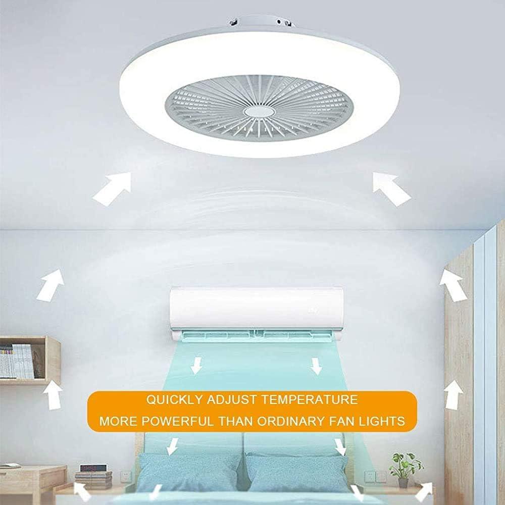 THY Ventilador de Techo Iluminado y sin escalonamientos de regulación con Mando a Distancia, de Tres velocidades, la Moderna Sala de Ventilador Techo de la habitación Restaurante luz Luces,White