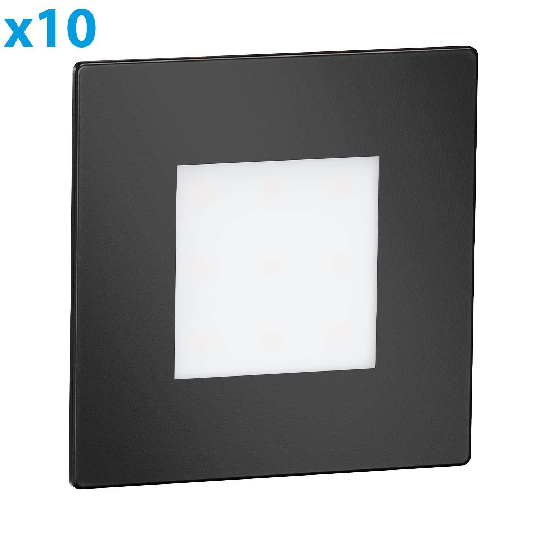 8,5x8,5cm 10 pcs Angulaire 230V Blanche-Froide ledscom.de LED luminaire d/´escalier luminaire encastrable dans Le Mur