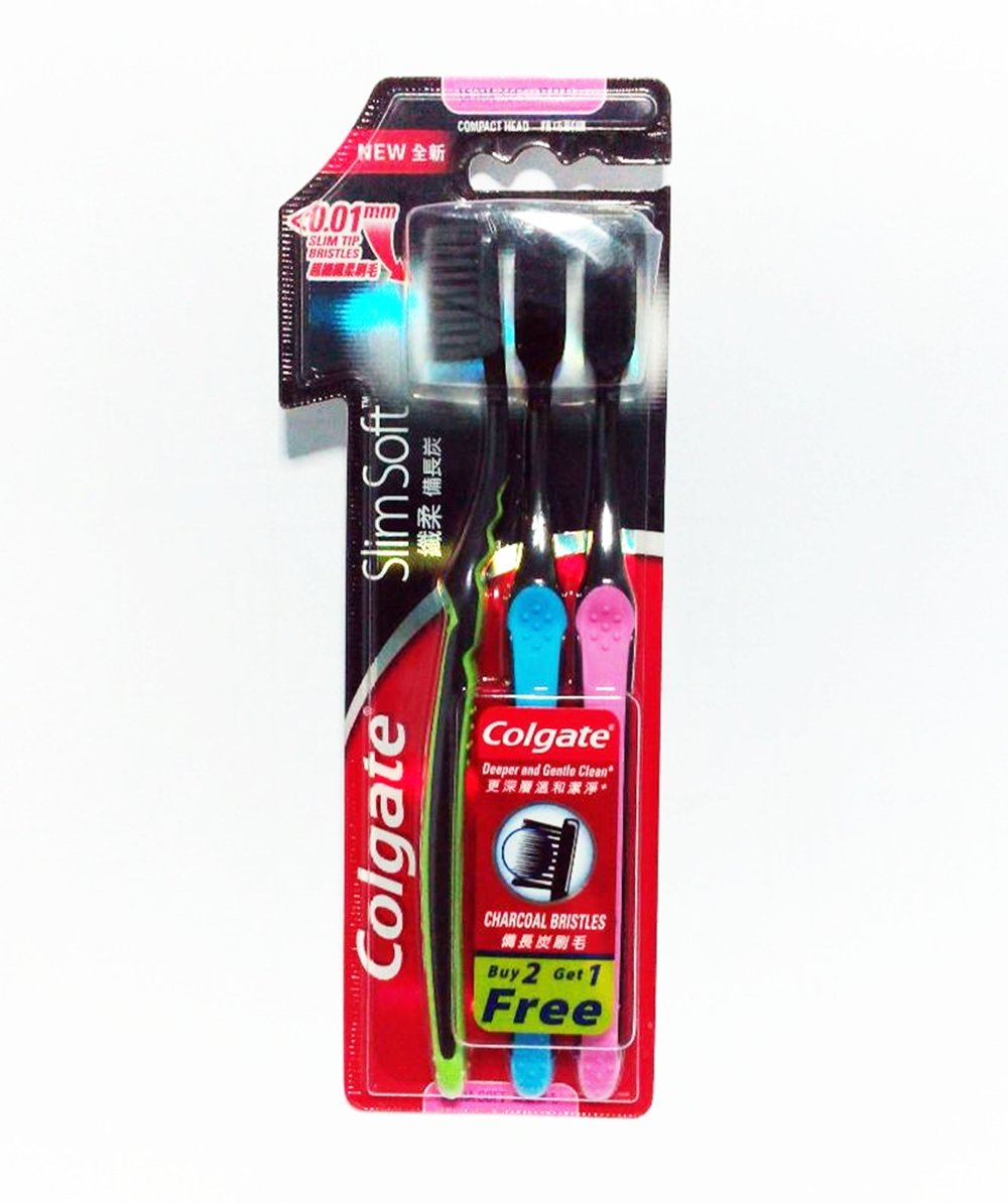 Colgate Slim Soft Charcoal Toothbrush Soft & Fine Bristles 0.01mm, Pack of 3