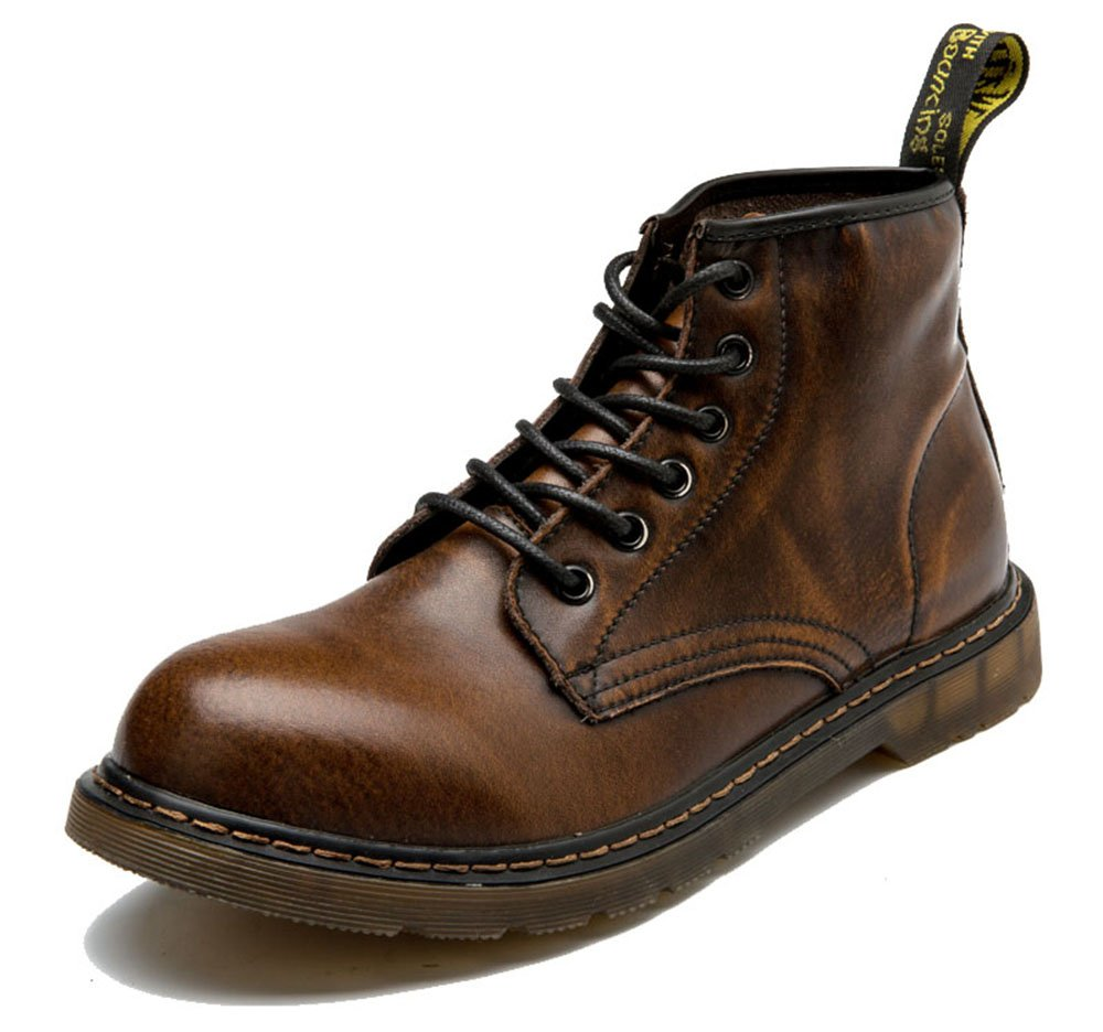 MHB Men's Round Toe Casual Martin Cowhide Boots Lace-up Water Resistant Combat 8.5in Brown