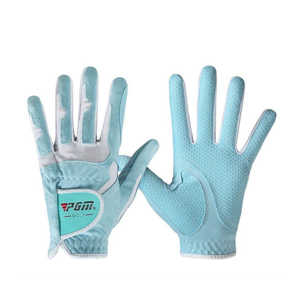 PGMレディースゴルフグローブ1ペア、滑り止め、通気、Bionic手袋(ダブルカラー) (ブルー, 20 )   B07FNL85V2