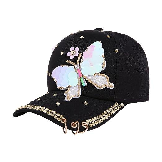 Song Qing Shiny Glitter Butterfly Baseball Cap Visor Hat Adjustable ... 56a21f087aa