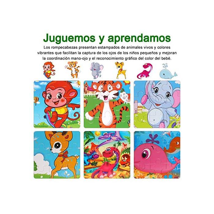 61FweuS8TLL 【Incluyendo】Rompecabezas infantiles con Tigre, Elefante, Ciervo Sika, Ballena, Mono y Dinosaurio 6 rompecabezas (9 cada uno). Cada rompecabezas mide 5.9 * 5.9 pulgadas y es adecuado para pequeños agarres de las manos; es fácil de transportar y adecuado para viajar. Los colores brillantes y los lindos diseños de animales atraen a sus hijos a jugar, lo que facilita que los niños aprendan y recuerden. 【Calidad y Seguridad】Nuestros Wooden Jigsaw Puzzles están hechos de materiales ecológicos, no tóxicos, resistentes y duraderos. Todas las esquinas han sido meticulosamente diseñadas, sin esquinas afiladas y esquinas redondeadas, lo que es seguro para su hijo. Buen toque Cada rompecabezas tiene un marco de madera que ayuda a mantener las piezas en su lugar. 【Aprendar mientras Jugar】¡A los niños les encantan los rompecabezas! Son muy interesantes, inspiradores y emocionantes, ¡aprenderán mientras juegan! No solo proporciona diversión para los niños, sino que también los ayuda a practicar la resolución de problemas y el razonamiento espacial a medida que completan el rompecabezas.